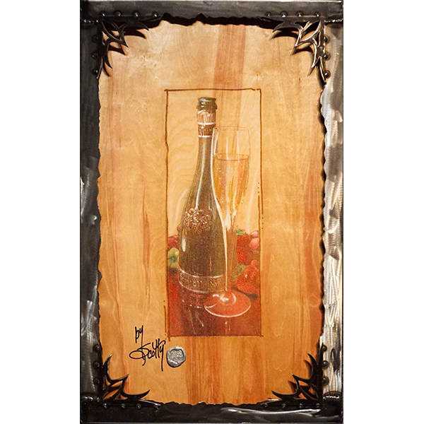 """Still Thirsty""  by Scotty Ziegler  I guess that's just how these things go. Company gone. A bottle for a special occasion, dry. And you? Still Thirsty.   Acrylic on etched wood.  Custom steel frame included. 33″ x 21″ #/12   Contact the gallery for pricing"