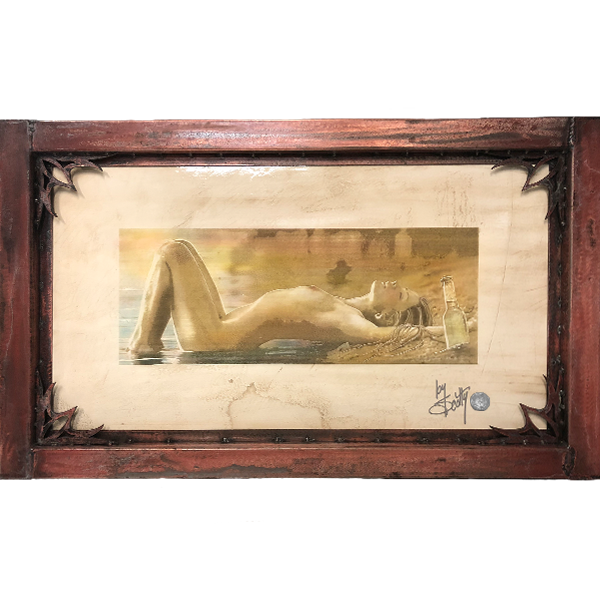 """Sun Kissed""  by Scotty Ziegler  As the masters of old created works of art adorned on Venetian plaster, so too is this moment in time when that little Sun Kissed beauty first hit the Venice sand.""   Acrylic on etched Venetian plaster.  Custom steel frame included. 23″ x 36″ #/12   Contact the gallery for pricing"