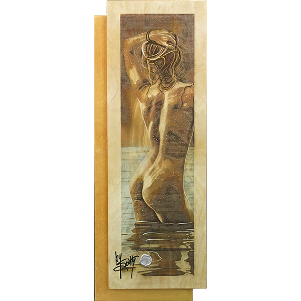 """Moon Shine""  by Scotty Ziegler  That moon sure is shining. On one of those ever-clear nights, who can resist taking a little dip.   Acrylic on etched wood.            35″ x 13″ #/12   Contact the gallery for pricing"