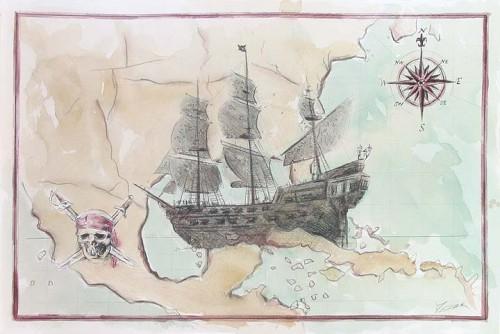 """""""A Pirate's Map"""" 27x40"""