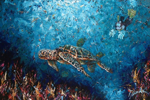 """""""Swimming with Turtles"""" 24x36"""