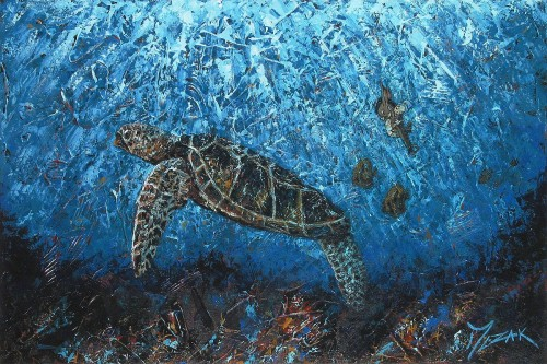 """Jiminy and the Honu"" 24x36"
