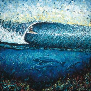 """Mickey Surfs Pipeline"" 36x36"