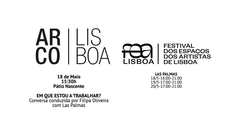 AR.CO LISBOA - Las Palmas is pleased to announce that we will be open all weekend by occasion of ARCO Lisboa'18 and FEA Lisboa 2018, being possible to see kinēma by Aires de Gameiro with the presence of the artist.Also on Friday, May 18, at 3:30pm, will take place at Pátio Nascente of Cordoaria Nacional a conversation conducted by Filipa Oliveira with the four members of Las Palmas, part of ARCO Lisboa'18 program.