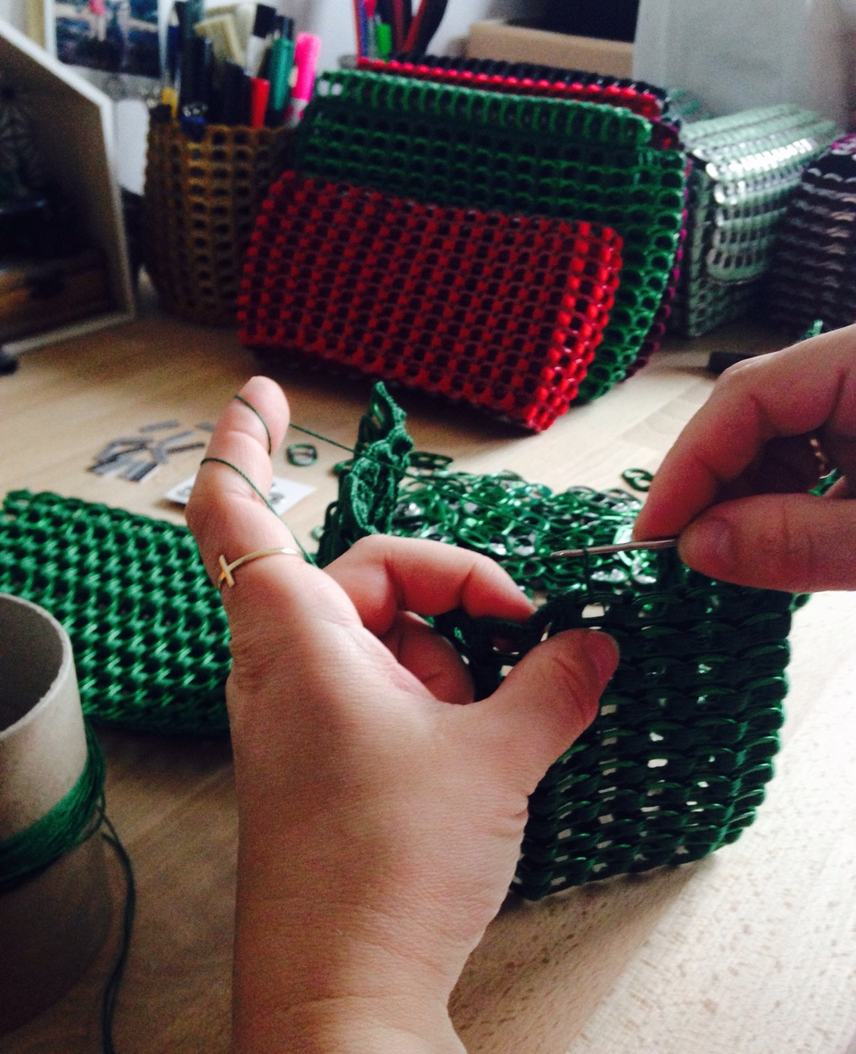 WyRób work in progress: Magdalena Wojdylo is connecting soda pop tabs to make beautiful clutches and purses.