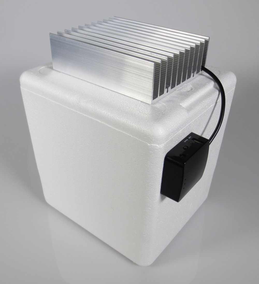 Active temperature-regulated enclosures. Maintain contents at a constant temperature, within 0.5 degree C. Contents can be warmer or colder than the ambient temperature. Comes with integrated temperatures sensors with cloud capability. Unit runs OpenWRT Linux. 12V, 5A power supply included.   Contact us  for pricing and custom sensor options.