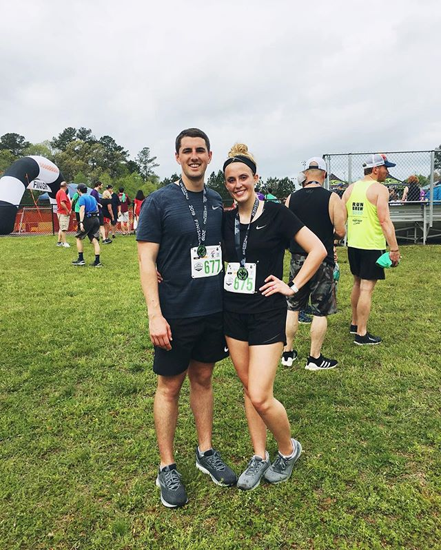 Less than a year ago we couldn't run 1 mile without stopping. Today we ran our first half marathon race! 🙌🏻 It was the most challenging thing I've ever done and I honestly couldn't have done it without Ryan kicking my booty out of bed to train! Thanks babe for inspiring me towards greater things, while loving me exactly as I am ❤️ • 2nd picture is a better representation of how Ryan feels about running and how I feel about running