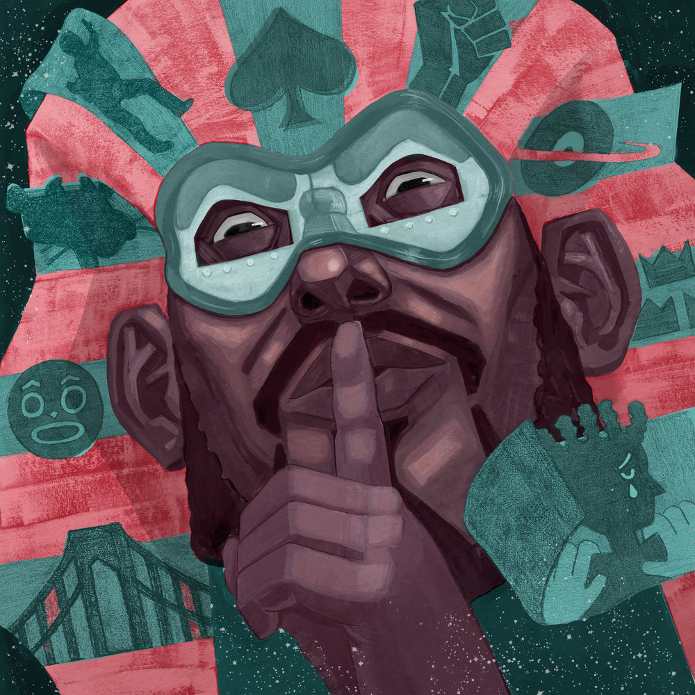"Bambaatataa's Pride / Gouache, Color Pencil and Digital / 10"" x 10""    Afrika Bambaataa is one of the most important figures in Hip Hop culture's early history, but recent events has revealed his worst secrets to the world"