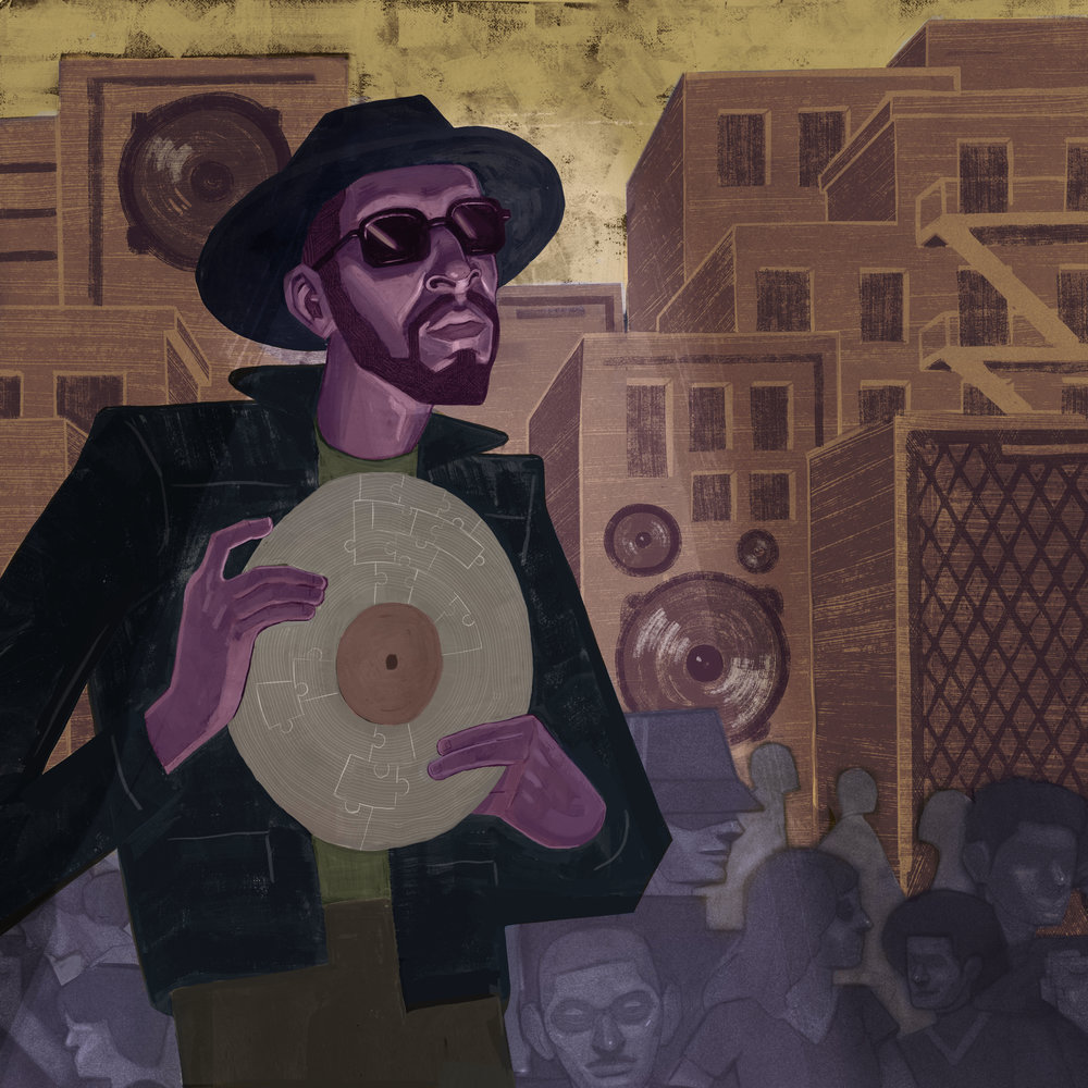 "1520 Sedgwick Ave. / Gouache, Color Pencil and Digital / 10"" x 10""     On August 11th, 1973, DJ Kool Herc threw a party in the halls of 1520 Sedgwick Ave. that changed the world forever."