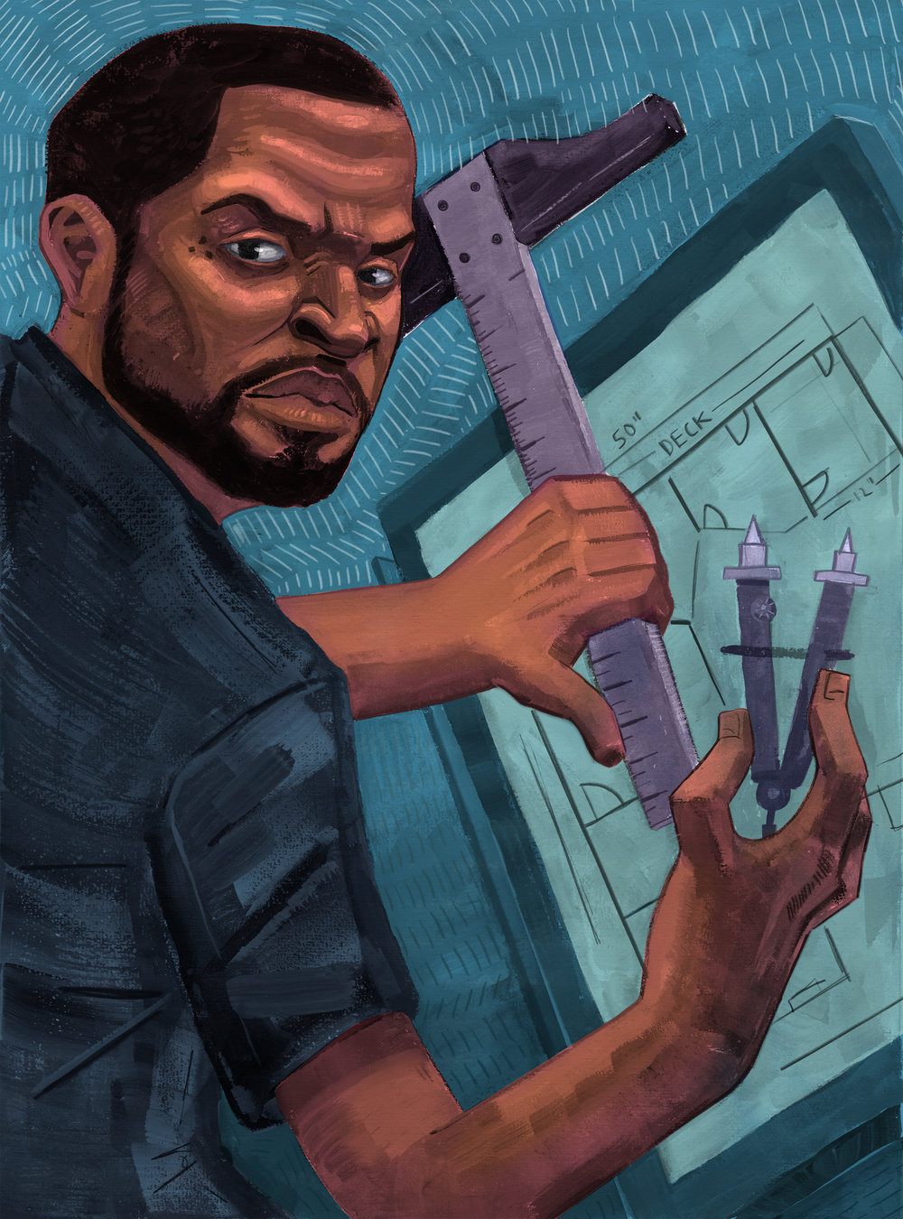 """Ice Cube The Architect/Gouache, Color Pencil and Digital / 8"""" x 10""""    1 of 2 in a small series of illustrations called Past Passions, about rappers and the things they studied before they became rappers. This is about Ice Cube and the period of his life when he studied to be a architectial draftsmen"""