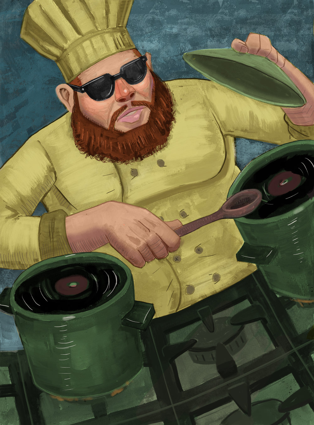 """Bronson the Cook/Gouache, Color Pencil and Digital / 8"""" x 10""""    2 of 2 in a small series of illustrations called Past Passions, about rappers and the things they studied before they became rappers. This is about Action Bronson and the period of his life when he worked as a cheif"""