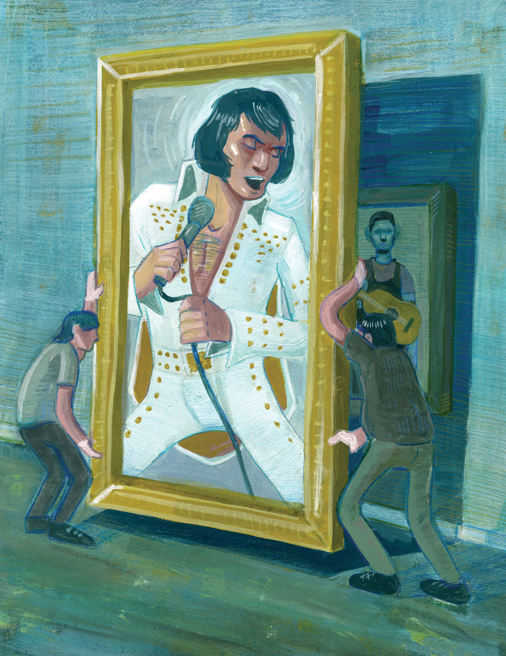 """The King?/Gouache, and Color Pencil / 8"""" x 10""""  A piece that grapples with the question on whether or not Elvis was guilty of appropriating black musicians"""