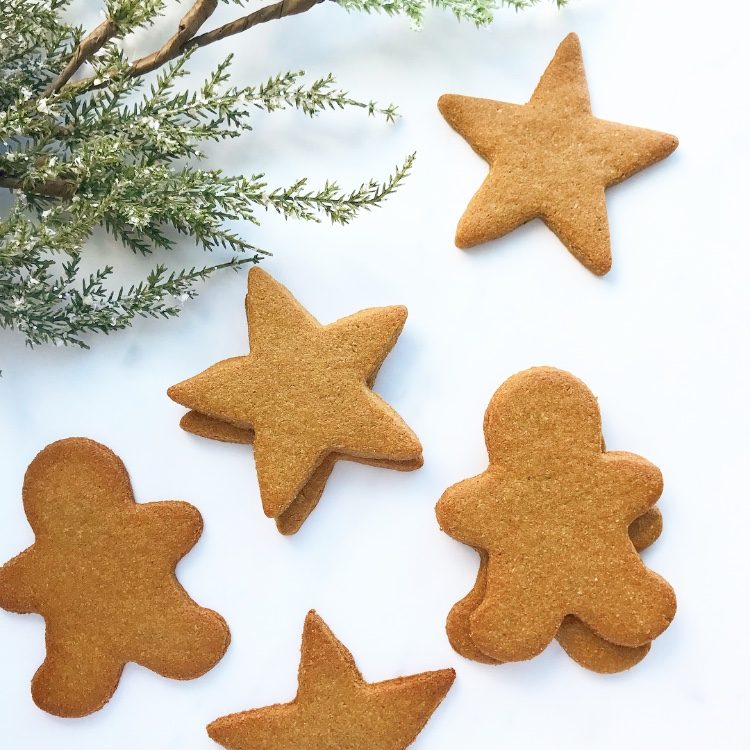 Vegan Gingerbread COokies - $24 per dozenThe iconic holiday cookie with a healthier twist! Available as stars, gingerbread men, circles, jewish stars, or dreidels! Ready to decorate or eat as is.As always, these are grain, gluten, refined sugar, dairy, soy, and junk free!Ingredients: almond flour, arrowroot, maple syrup, coconut oil, molasses, ginger, cinnamon, baking soda, pink Himalayan salt