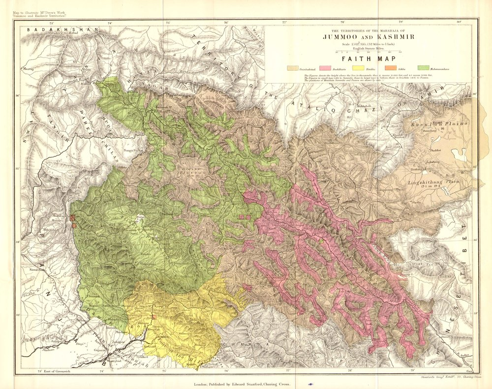 A Faith Map of Jammu and Kashmir by Drew in 1875
