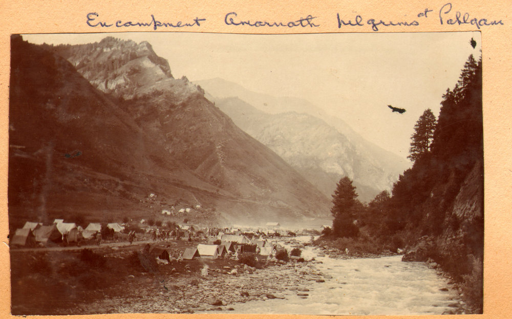 152 1920 Encampment of Amarnath pilgrims at Pahlgam by Ralph Stewart