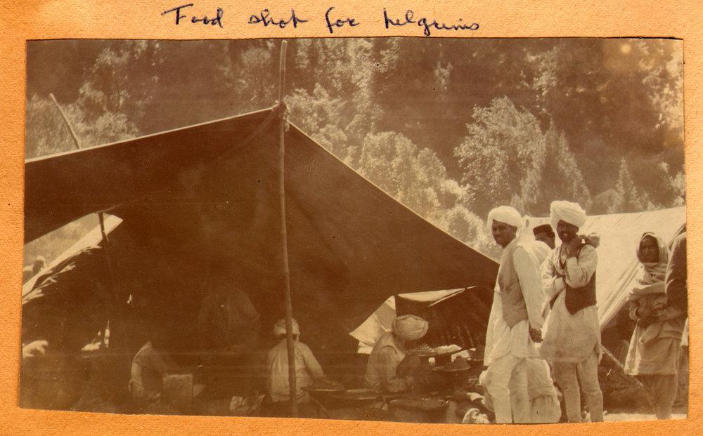 161 1920 Food shop for Amarnath pilgrims, Pahlgam, Kashmir by Ralph Stewart