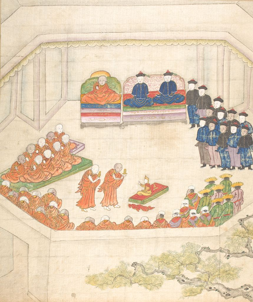 The painting from the Qing Era shows the Induction of the 9th Dalai Lama, Lungtok Gyatso, in 1808 as its watched by the Ambans and Qing officials on one side and by Tibetan Clergy and other Tibetans on the other side.
