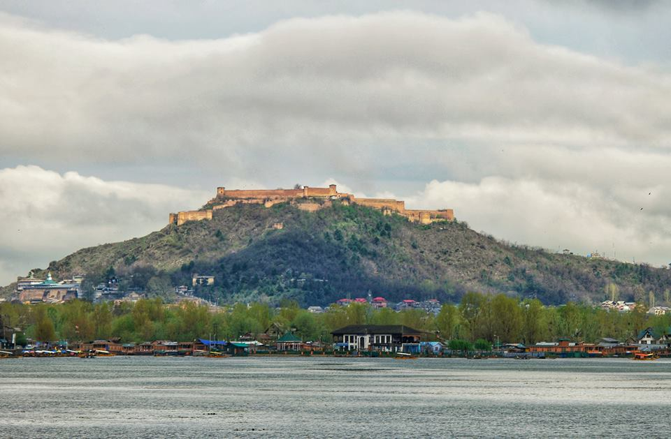 The Hari Parbat Fort as seen from the Dal Lake
