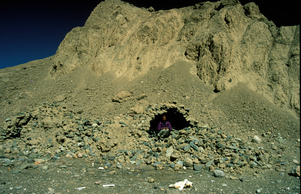 """One of the Trekkers in one of the """"polu"""" shelters on the Karakoram Trail"""