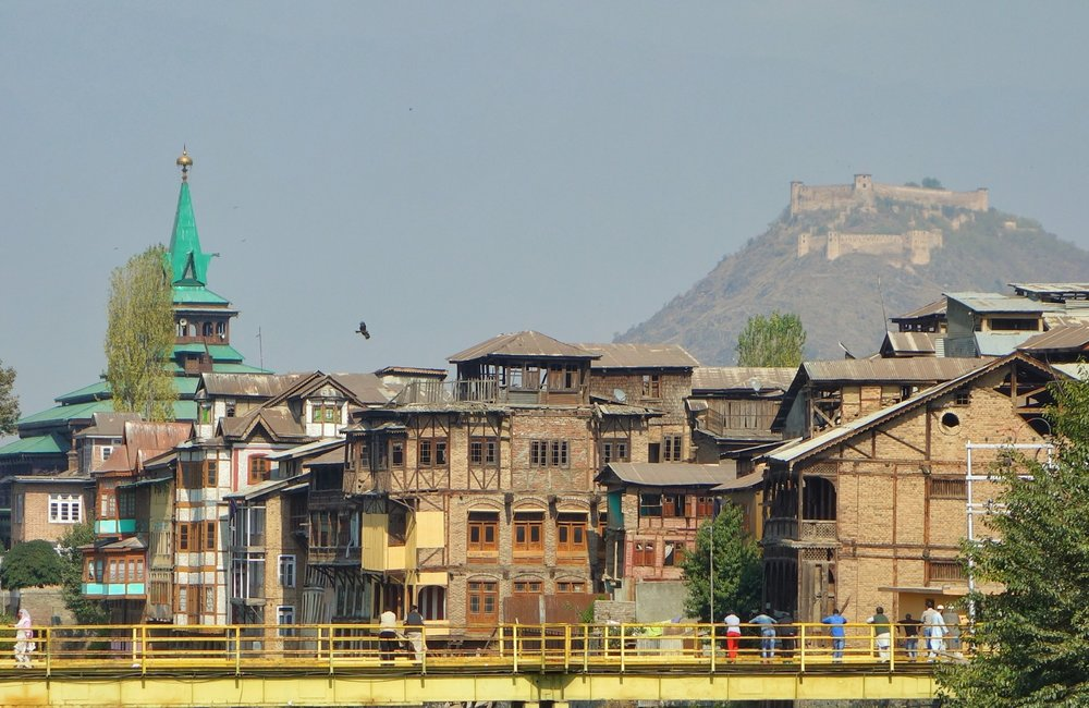 The Hari Parbat Fort as it looms above the Old City of Srinagar