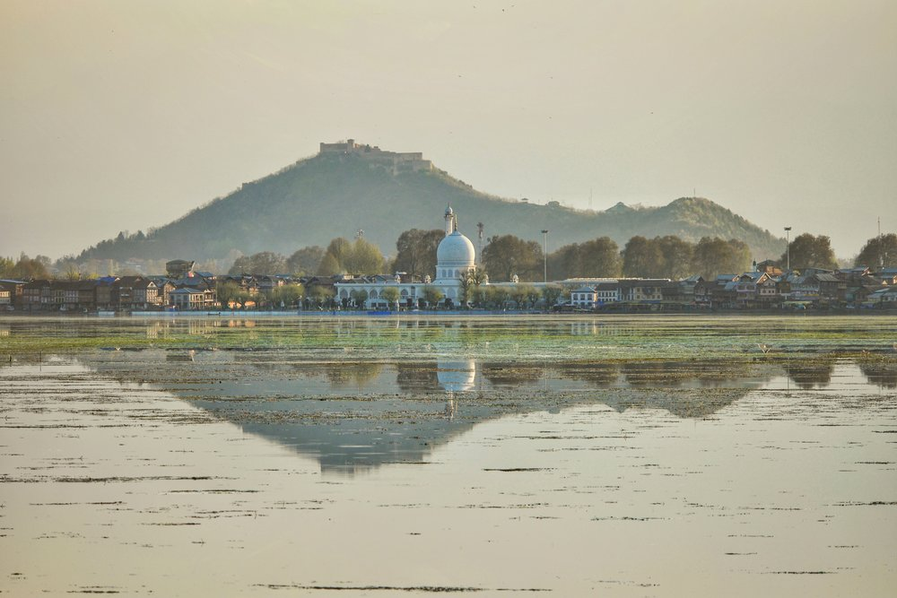 The Hazratbal Shrine with the Hari Parbat Fort in the Background.