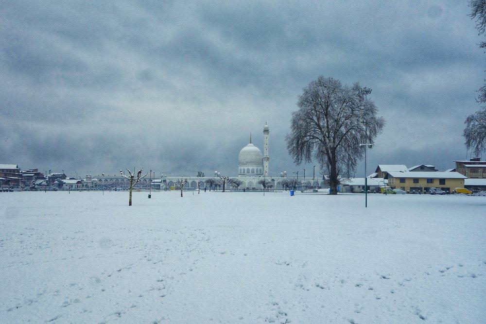 The Hazratbal Shrine after a Snowfall