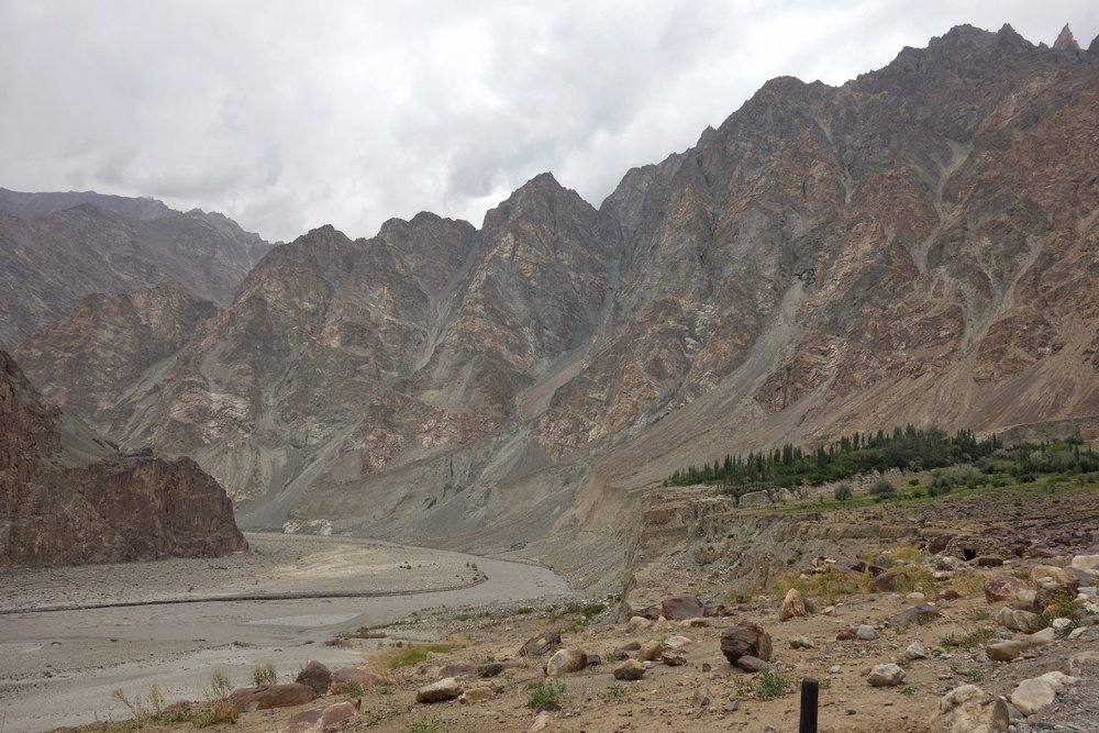 The point at which the Shyok enters Pakistan controlled territory across the LOC in what used to be Baltistan.