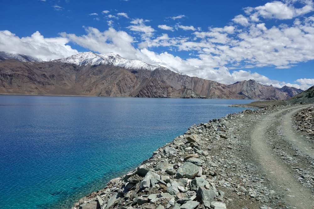 On the way to Chushul and driving along the Pangong Tso.