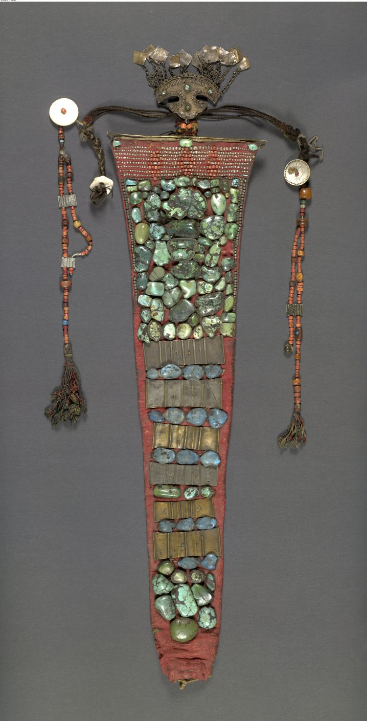 Perak : Woman's head-dress made of cloth, cloth (canvas), coral, beads (lead), brass, pearls, turquoise-ladakh