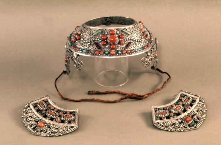 Pendant (one of a pair). Made of cloth, stones (semi-precious), turquoise, coral, bronze.-ladakh