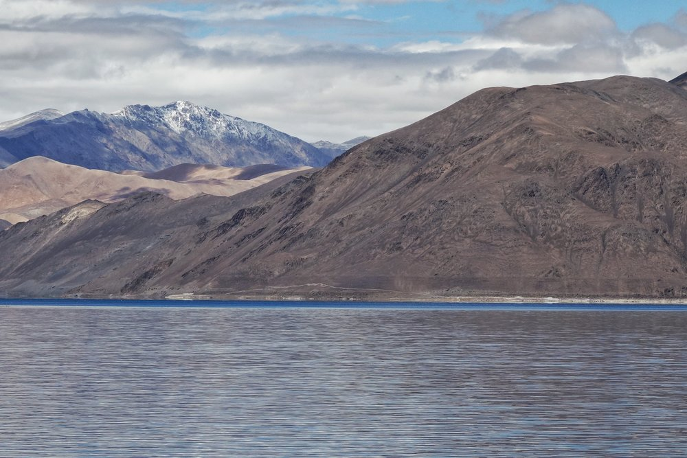 The Pangong Lake with the Pangong Range in the background.