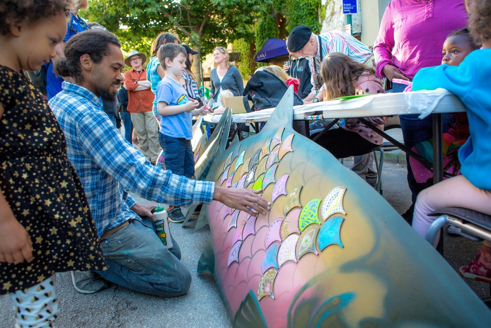 First Friday on Cooper Street - COOPER STREET 5:00 - 8:45 pm5:00 pm Face Painting & Artmaking (until dusk)5:00 pm DJ Kikkoman5:30 pm Trio Sol de Mexico6:00 pm Angela Chambers & Thomas Pedersen6:30 pm Blue Summit7:15 pm Senderos 7:25 pm Iman Lizarazu7:55 pm ZunZun8:25 pm Post Street Rhythm Peddlers8:45 pm Brynne Flidais / Moveintuit and Procession to RiverwalkAdditional activities on Cooper Street and in Abbott Square and the Santa Cruz Museum of Art & History throughout the night. Visit Front & Cooper for a special Ebb & Flow drink. Make fish art with your family to bring back to the March for the River on Saturday.