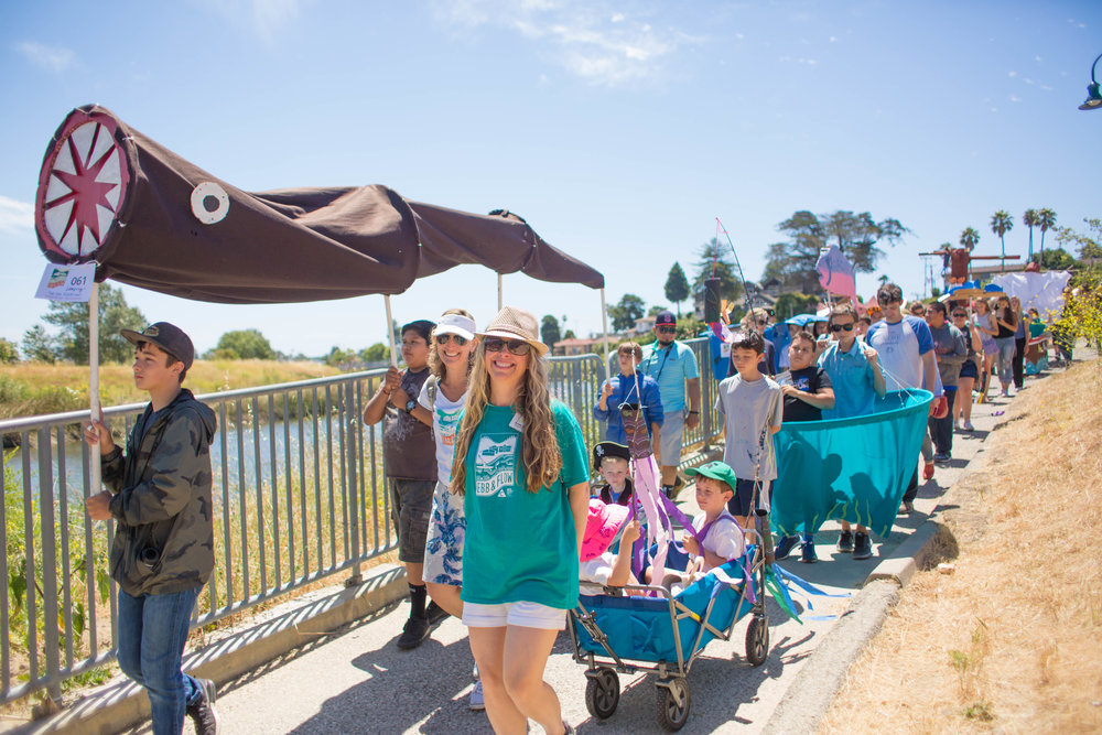 March for the River - 12:00 - 12:30 pmShow your love for the river! Join us for an all-ages one-mile march. Participants are invited to come as they are or dress up like their favorite watershed critter. Signs and costumes are encouraged but not required. Roller skates, one-wheels, skateboards and bicycles are welcome. Or download a fish kit at ebbandflowfest.org/create and bring your fish to the March!The March starts at 12:00 pm under the Soquel Bridge (East Side) and ends at the Tannery. Lineup begins at 11:45 am.