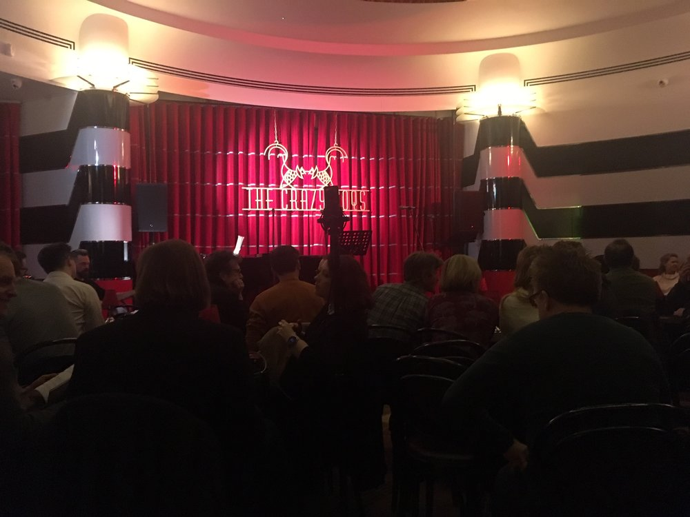 The Crazy Coqs stage, and, if you look very carefully, the back of the composer's head…