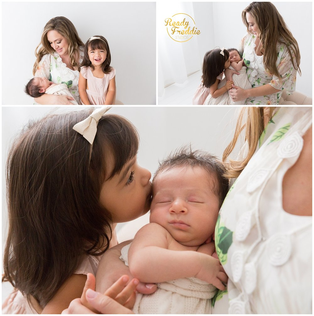 mom with her daughter and newborn son during his newborn sessin