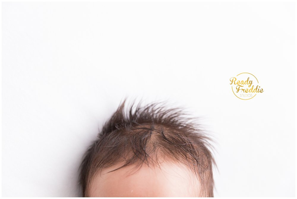 detail shot of newborn hair