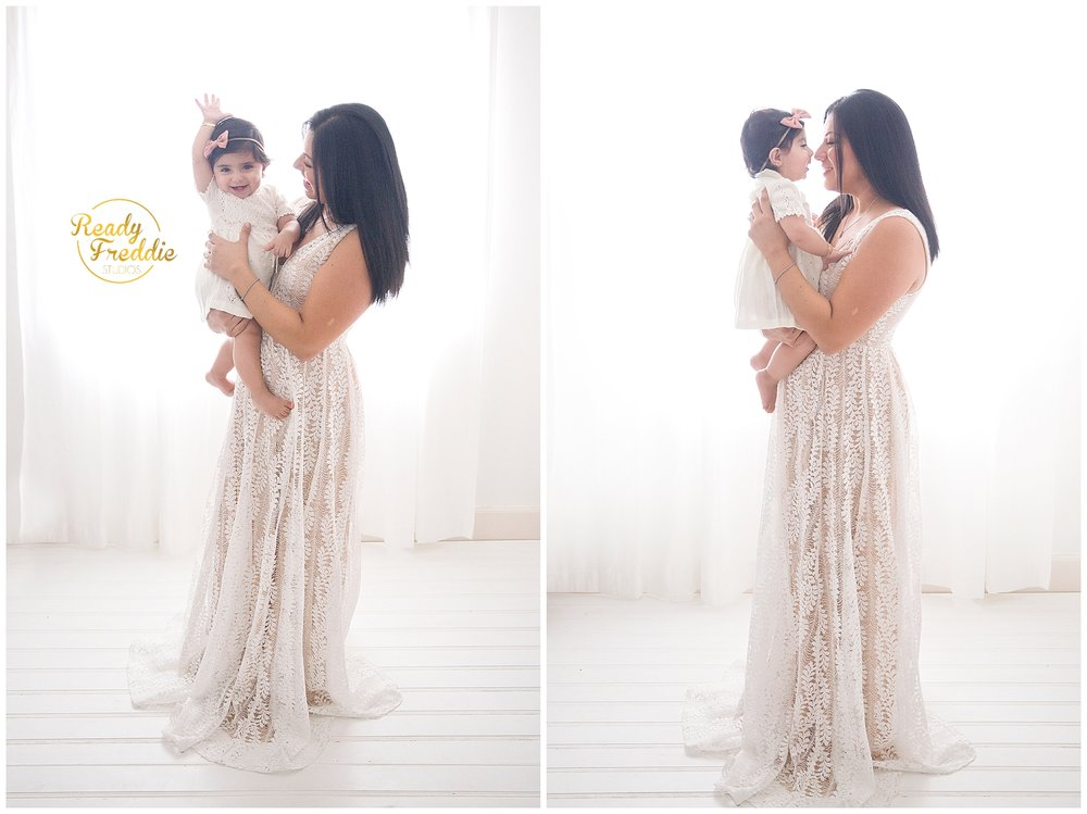 candid moment between mom and baby at Photo studio in Miami FL