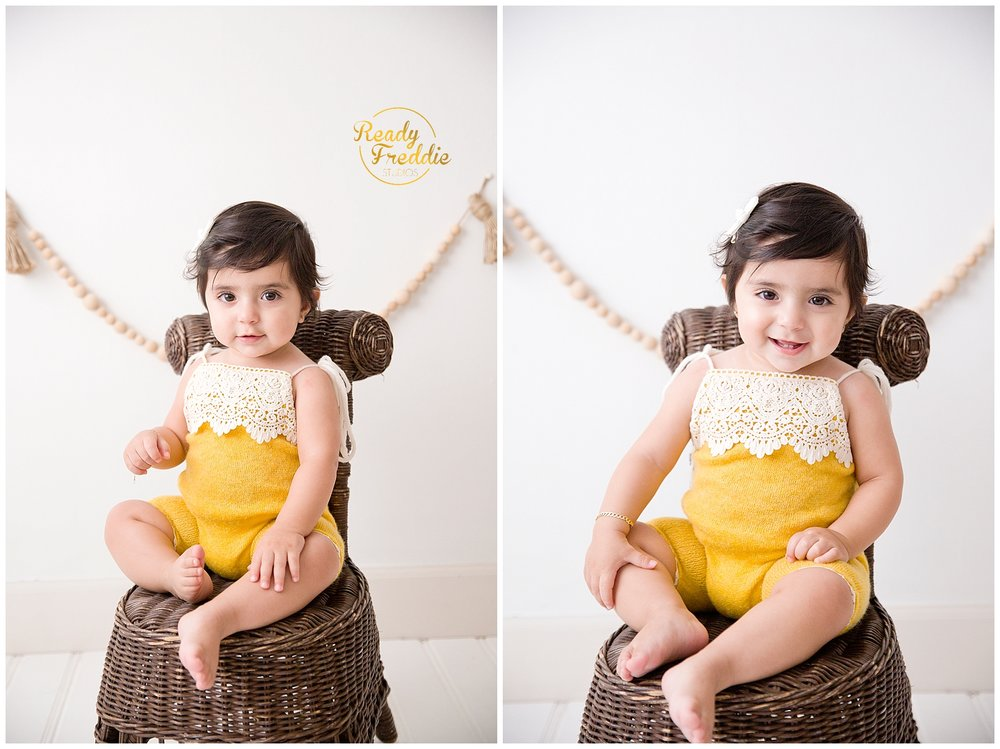 Girl sitting on chair for her one year photos in Miami FL photography studio