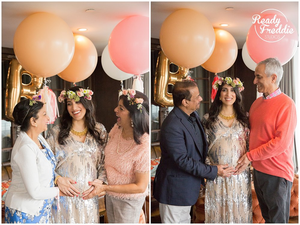 Mom to be celebrates with her parents and inlaws at her baby shower at the soho beach house in miami