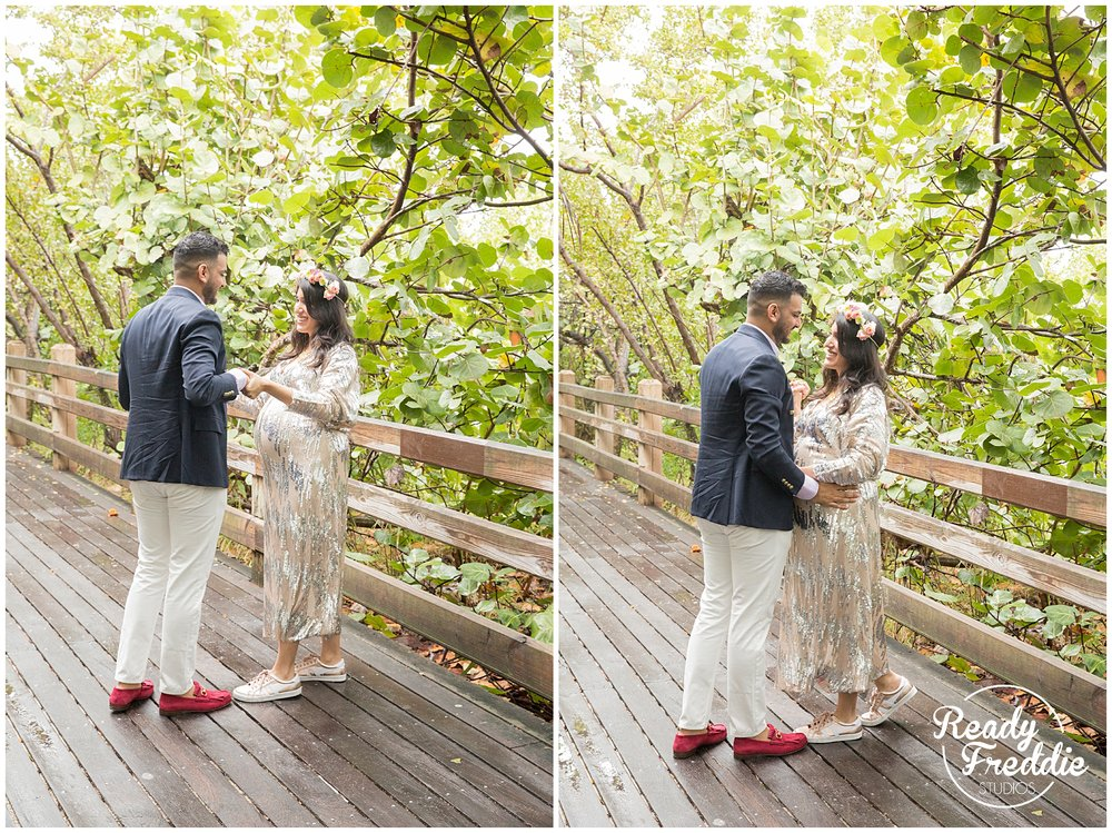 soho beach house boardwalk maternity session mom and dad to be dancing