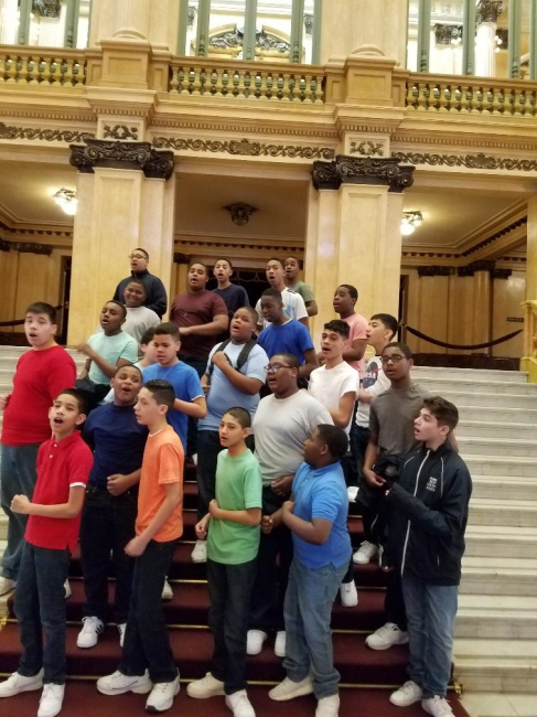 """Teatro de Colon - Grand Staircase performance""""Of course, we have had our spontaneous rehearsals, and perform for the people. It's our way of saying thank you for their hospitality and graciously accepting us in their country."""" Luis Rodriguez, Grade 8"""