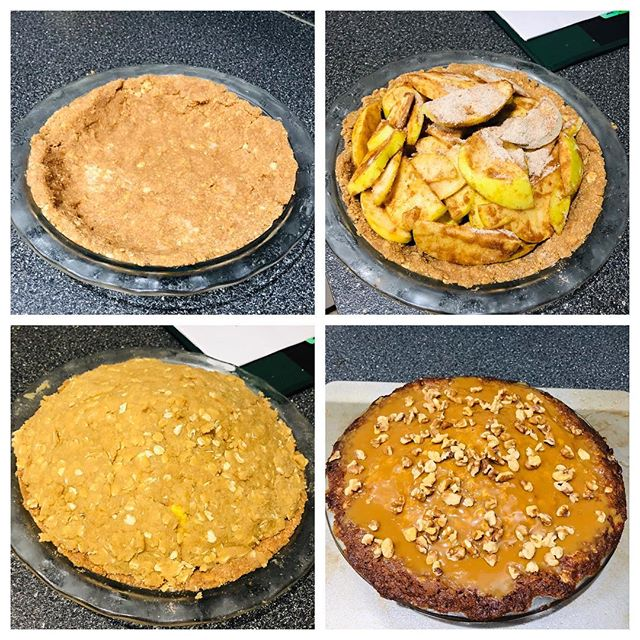 The four stages of grandma's apple pie. This recipe is staying a secret but here a few tips on what makes it great: the graham cracker crust and the streusel topping. Also butter. . . . . . #applepie #grandmaspie #pie #grahamcrackercrust #streusel #apple