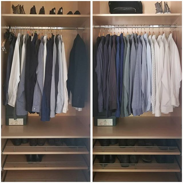 "Beautiful before/after work by a client. He had already done a terrific job discarding on his own prior to our first session. When organizing, I always ask clients to place items back into the space ""in a way that makes sense to them."" Little details like arranging clothes from light to dark, and having uniform wooden hangers can make all the difference when it comes to bringing joy and peace into a wardrobe. After tidying, these are all of the remaining items that #sparkjoy, right? Put them on display! Let them breathe! Show them off! • • • • • #konmari #konmariconsultant #organizer #california #tidyingup #lifechangingmagicoftidyingup"