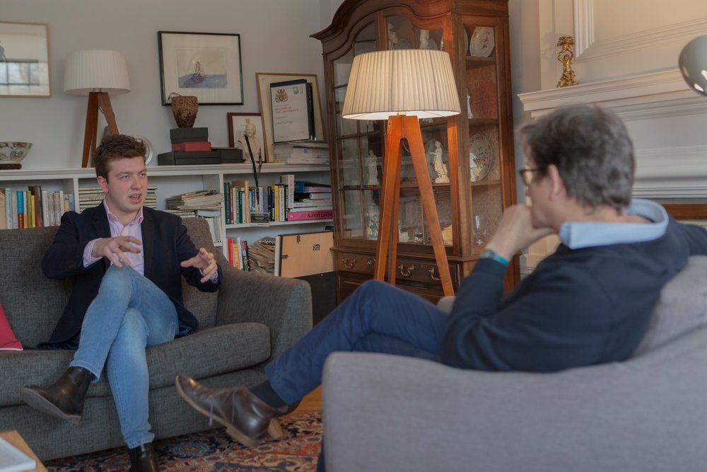 Discussing strategy with Alan Rusbridger in Oxford, 2018.