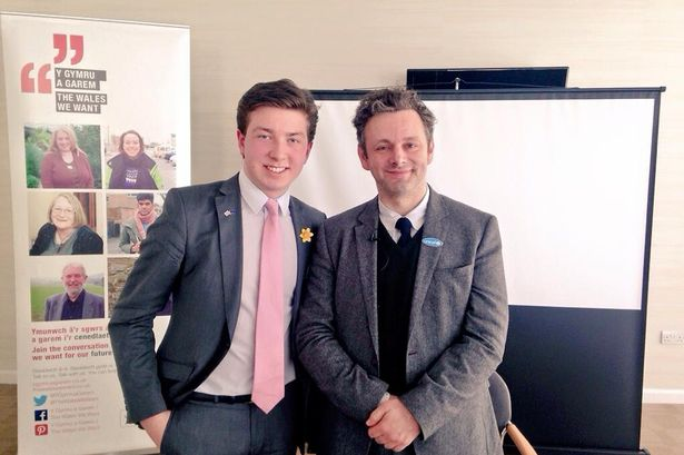 At the WalesWeWant conference, alongside Michael Sheen, 2015.