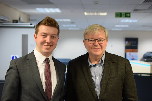 With former Australian Prime Minister, Kevin Rudd, 2018.