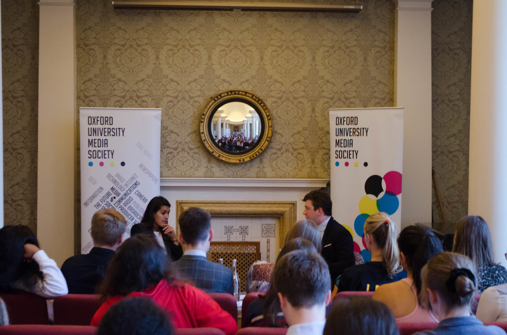 Theo interviewing Farrah Storr, Editor-in-chief of Cosmopolitan UK, at the Media Society.