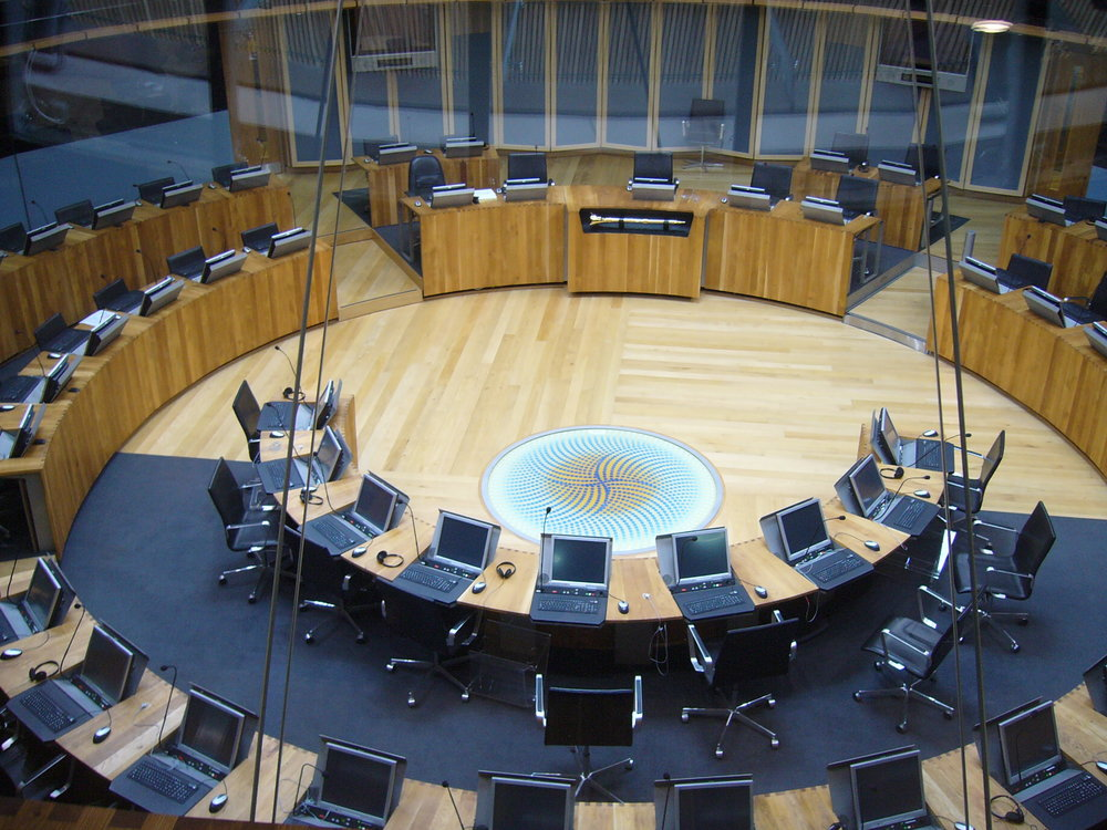 The Welsh Assembly chamber.
