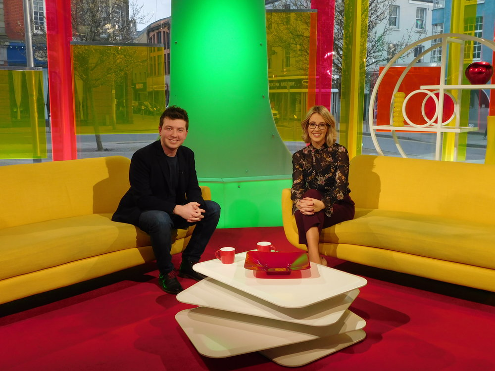 Theo with Heno presenter Mari Grug.