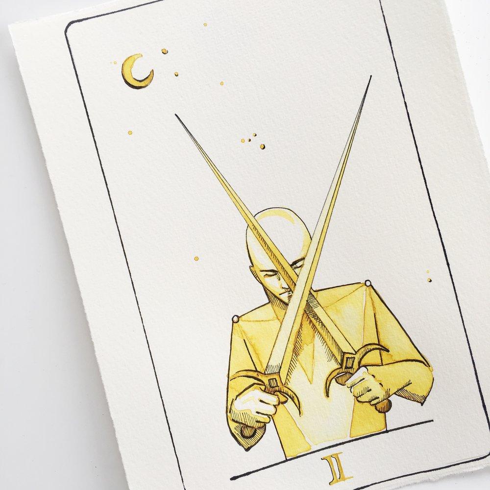 2 of swords, vindur tarot deck by leah pantea